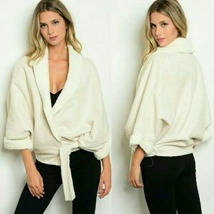 Jackets & Blazers - Faux Suede and Fur Wrap Jacket Oversized